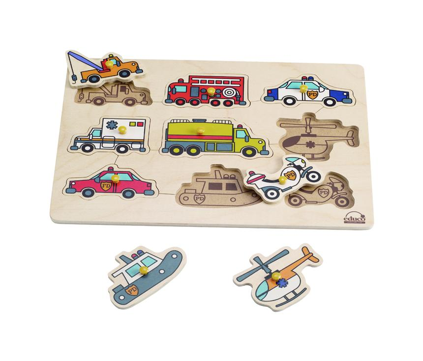 救難交通木拼圖 Emergency Vehicles Peg Puzzle
